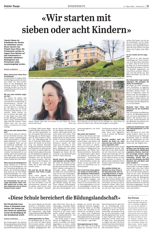 Bericht CasaVitura im Einsiedler Anzeiger