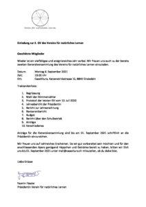 Einladung zur 2.Generalversammlung Verein für natürliches Lernen